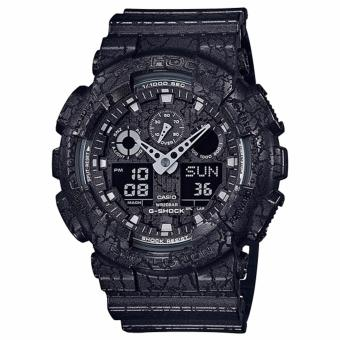 Casio G-Shock Standard Analog-Digital Black Cracked Pattern Watch GA100CG-1A