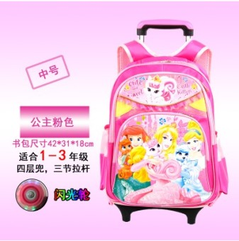 Cute men and women young student's climb stairs backpack trolley school bag