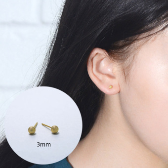 Day Korean-style simple temperament earrings female wild Cool ballpoint small peas earrings gold and silver matte earrings ear bone nail