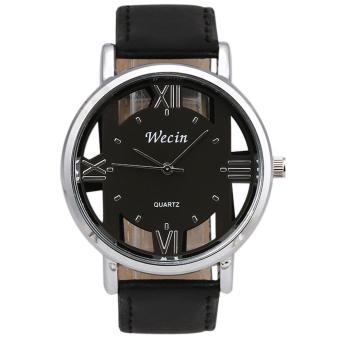 Fashion Luxury Men's Leather Strap Analog Quartz Sports Wrist Watch Watches Black - intl