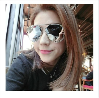 Fashion Metal Frame Flat Mirrored Lens Sunglasses(Gold Frame+Gold Lens) - intl