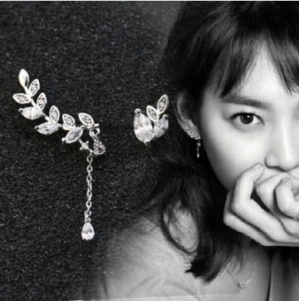 Female 925 not symmetrical day Korean-style leaf silver earrings