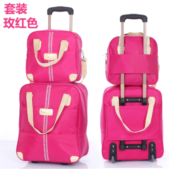 Korean-style solid color sets trolley fitness package travel bag
