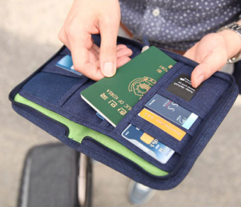 Multi-functional documents storage wallet clip travel passport bag
