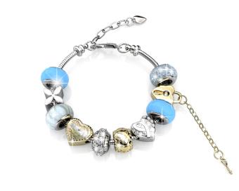 mylady charm bracelet blue crystals from swarovski