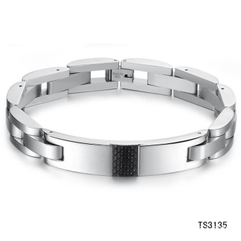 New Fashion Jewelry Black Carbon Fiber Cool Men Titanium Bracelet - intl