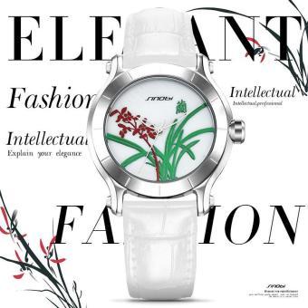SINOBI Chinoiserie Orchid Elegant Women Watches Ladies White Leather Wristwatch Waterproof Female Clock - intl
