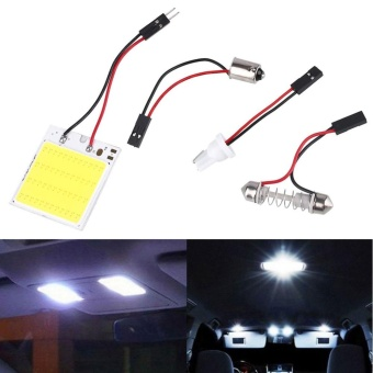 T10 4W 12V White 48SMD COB LED Car Interior Panel Light Dome LampBulb - intl