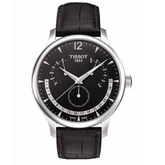 Tissot T063.637.16.057.00 Tradition Perpetual Calender Black Leather Men's Watch
