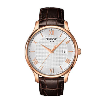 Tissot T0636103603800 Tradition Leather Mens Watch - Silver Dial(Export)(Intl)
