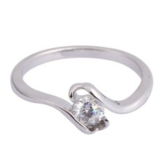 wedding charm party jewelry white gold plated zircon ring 18mm inner size - Wedding Ring Price