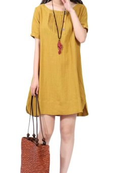 product short cotton dress with neck skirt pleating