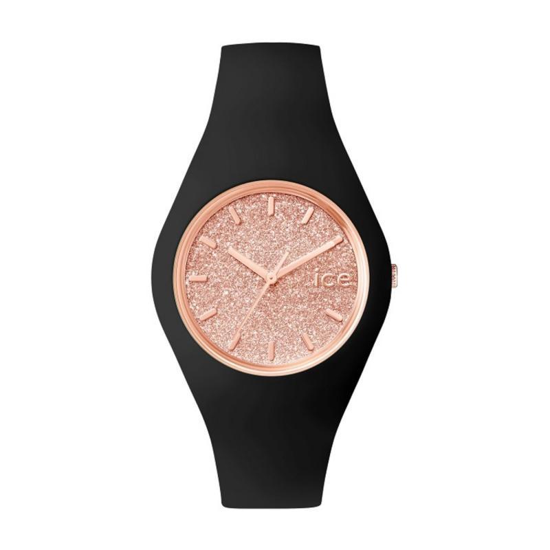 Ice Watch 001353 Ice Glitter Black Rose Gold Medium Unisex Watch Malaysia