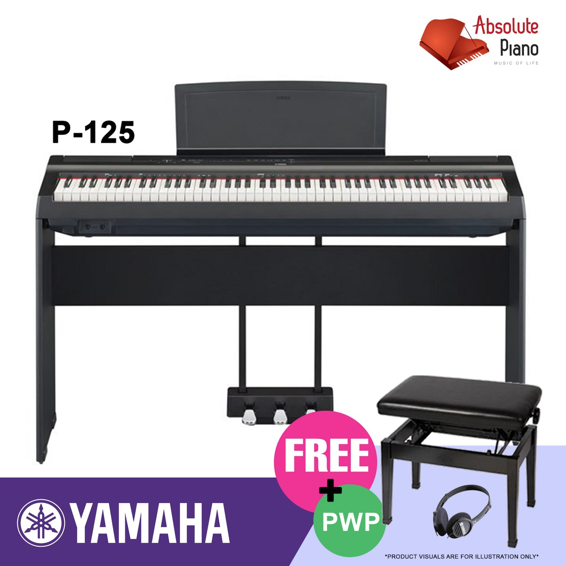 Buy Top Authorised Local Seller Digital Piano Keyboard Sale Yamaha P 125 Digital Piano Black With Stand Tri Pedal Piano Adjustable Bench Cheap Singapore