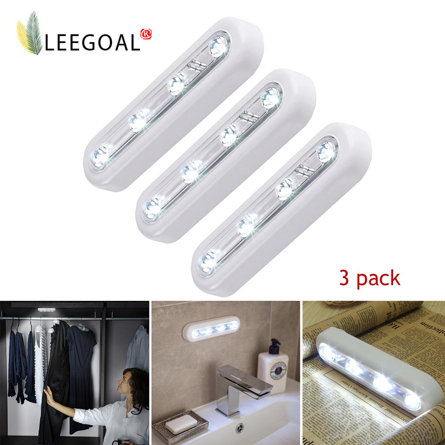 leegoal LED Touch Tap Light Cupboard Lights Stick-on Anywhere Battery Operated Push Light For Closets, Attics, Garages, Car, Sheds, Storage Room 3 Pack - intl