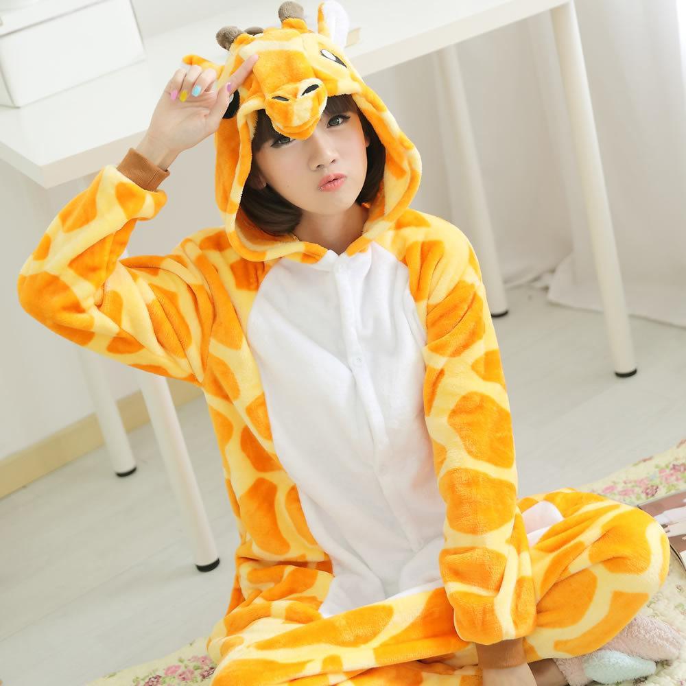 2017 Winter New Adult Flannel Giraffe Pajamas Onesies Cosplay Costume Cartoon Animal Couple Fashion Sleepwears By Yuanyuan Electronic Commerce.