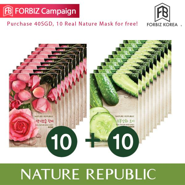 Low Price Nature Republic Real Nature Mask Sheet X 20 Rose 10Ea Cucumber 10Ea