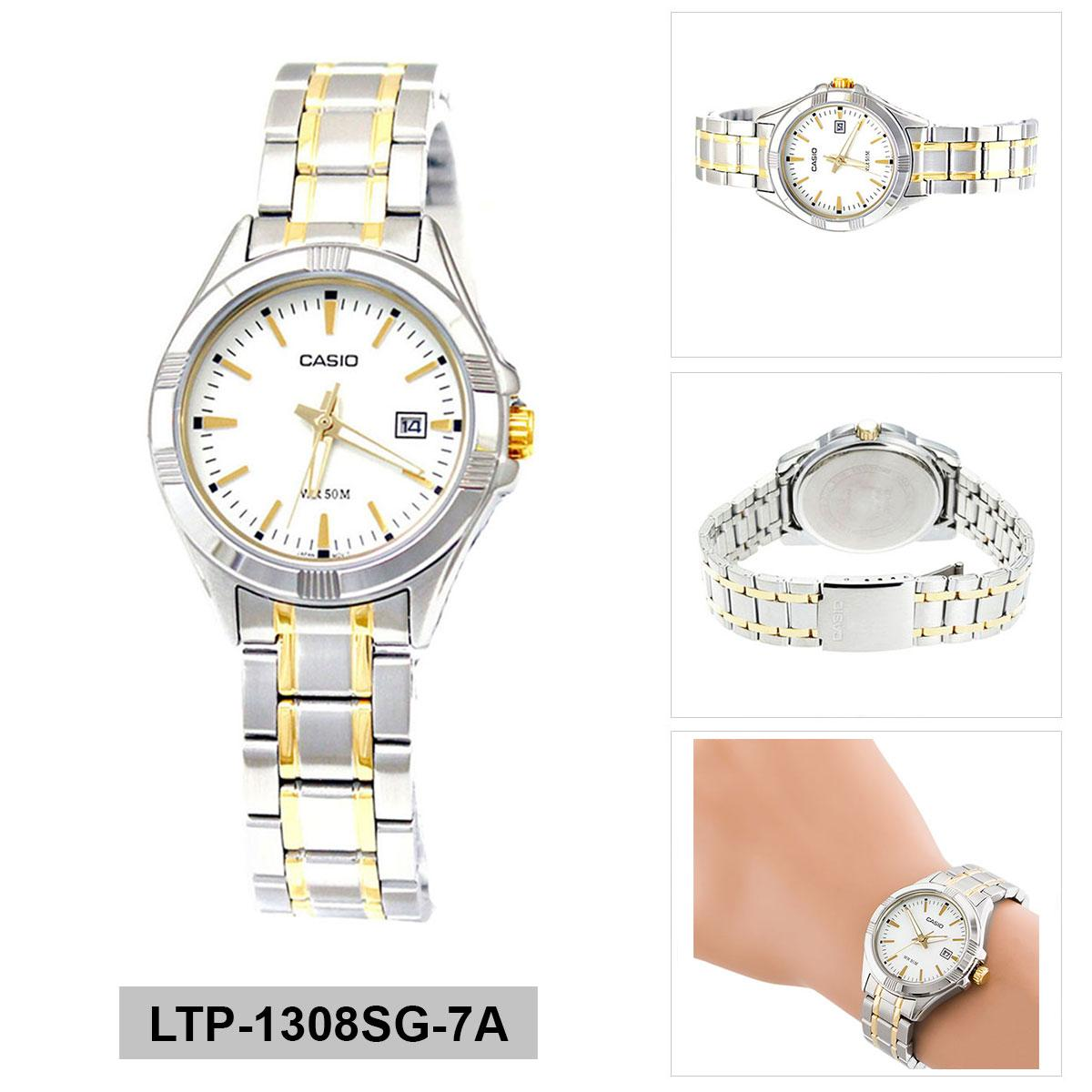 Discounted Casio Watch Enticer Multicolored Stainless Steel Case Two Tone Stainless Steel Bracelet Ladies Ltp 1308Sg 7A