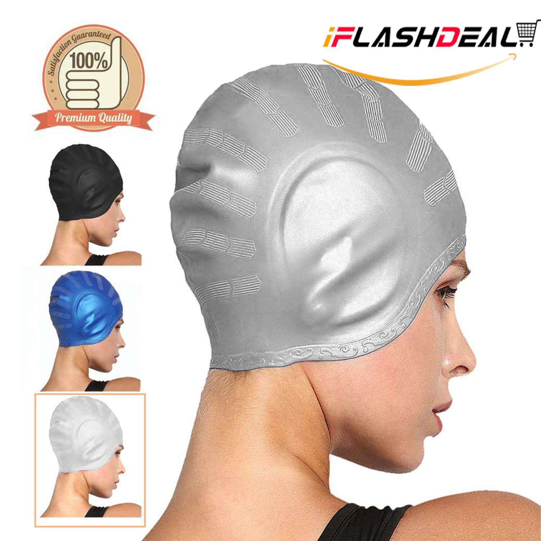 iFlashDeal Topi Renang Swimming Cap Silicone Rambut Panjang Renang Topi Tahan Air Silikon Hat Untuk Wanita Dewasa Dan Pria