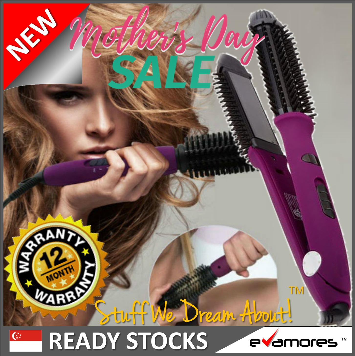 Best Deal Pro 4 In 1 Ionic Hair Styler Ceramic Tourmaline Flat Iron Hot Brush Hair Care Protection Purple