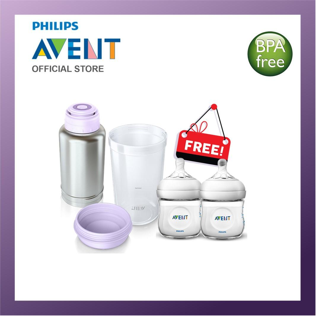 Philips Avent Thermo Flask Warmer+FREE 2 natural bottles