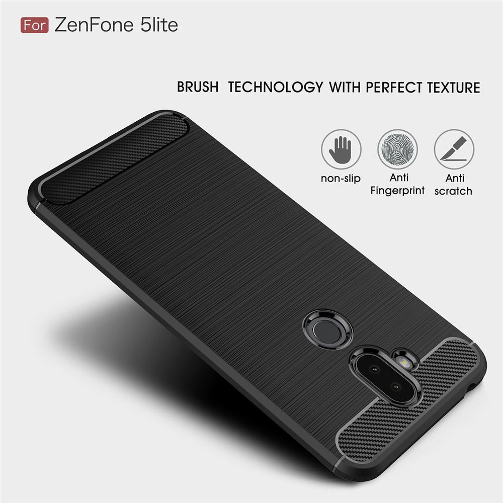 ... Lenuo Karbon Serat Silikon Gosok Anti Benturan Ponsel Sampul Belakang TPU Lembut Case Anda Asus ZenFone ...