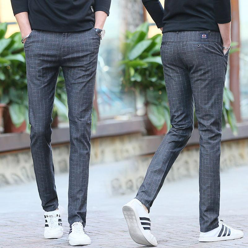 5f66c720a21f Winter Korean cotton linen Men Slim fit stretch Pants plaid pants (Khaki)  (Khaki