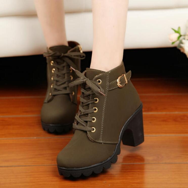 Cheap Five Star Store Women Chunky Block High Heel Ankle Boots Winter Nubuck Buckle Martin Boot Shoes Online