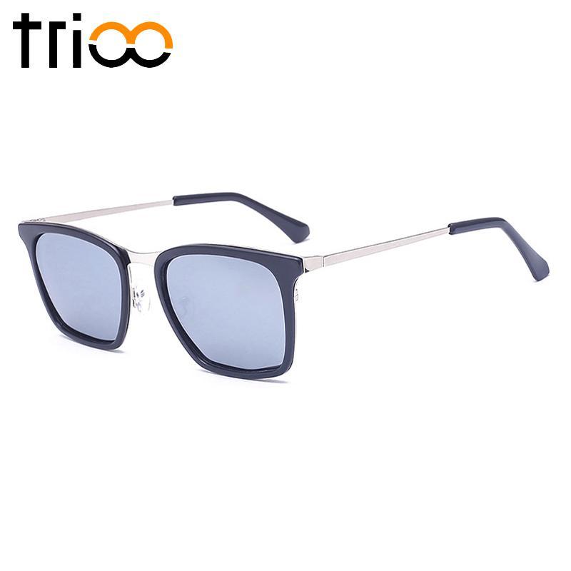TRIO Mode Rectangle Sunglasses Untuk Pria Perak Cermin Merek Designer Baru Shades Pria Metal Sunglasses Pria Oculos de sol Violet