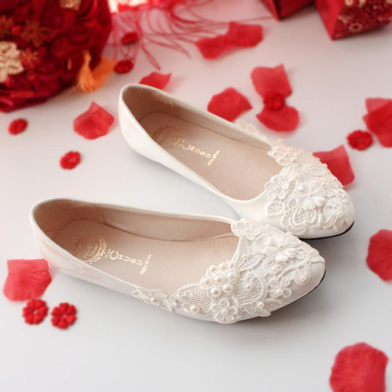 Korean Style White Wedding Lace Pumps Bridal Shoes Best Buy