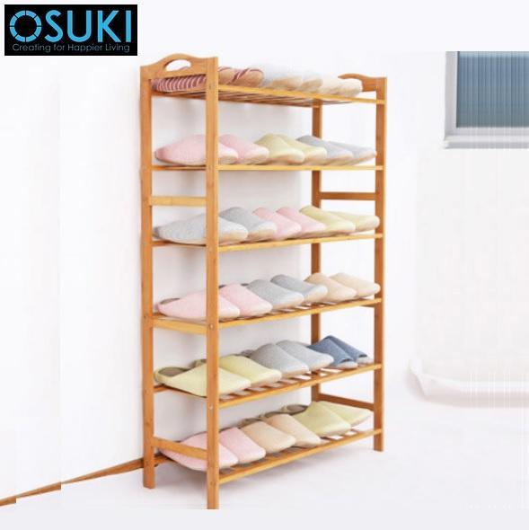 OSUKI Nature Wood Shoe Rack 6 Layer (110 x 80cm)