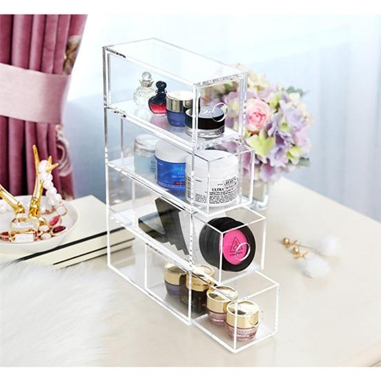 Acrylic stackable 4 drawers organizer brush lipstick glasses
