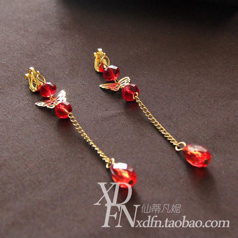 Chinese Style Red Tassels Bride Ear Hook Earrings