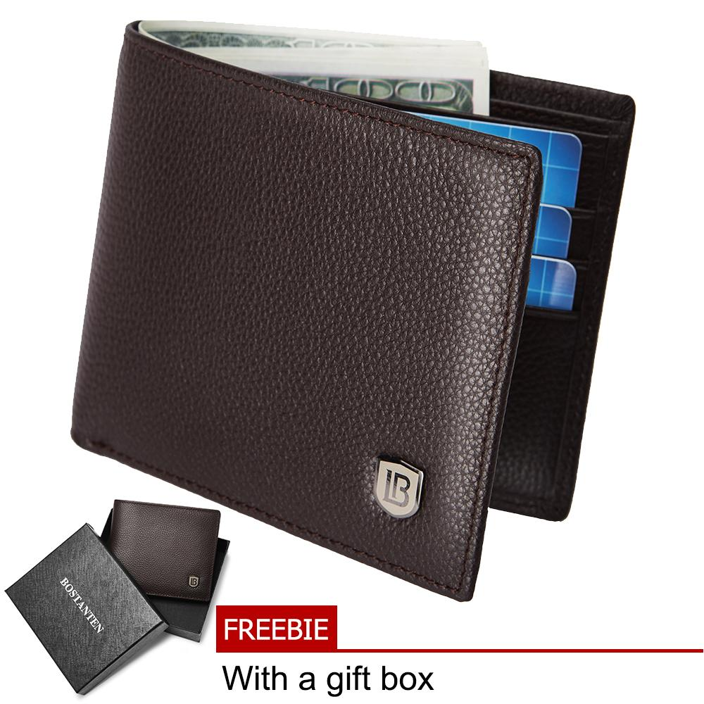 Bostanten Men's Genuine Cowhide leather biford wallet (coffee)