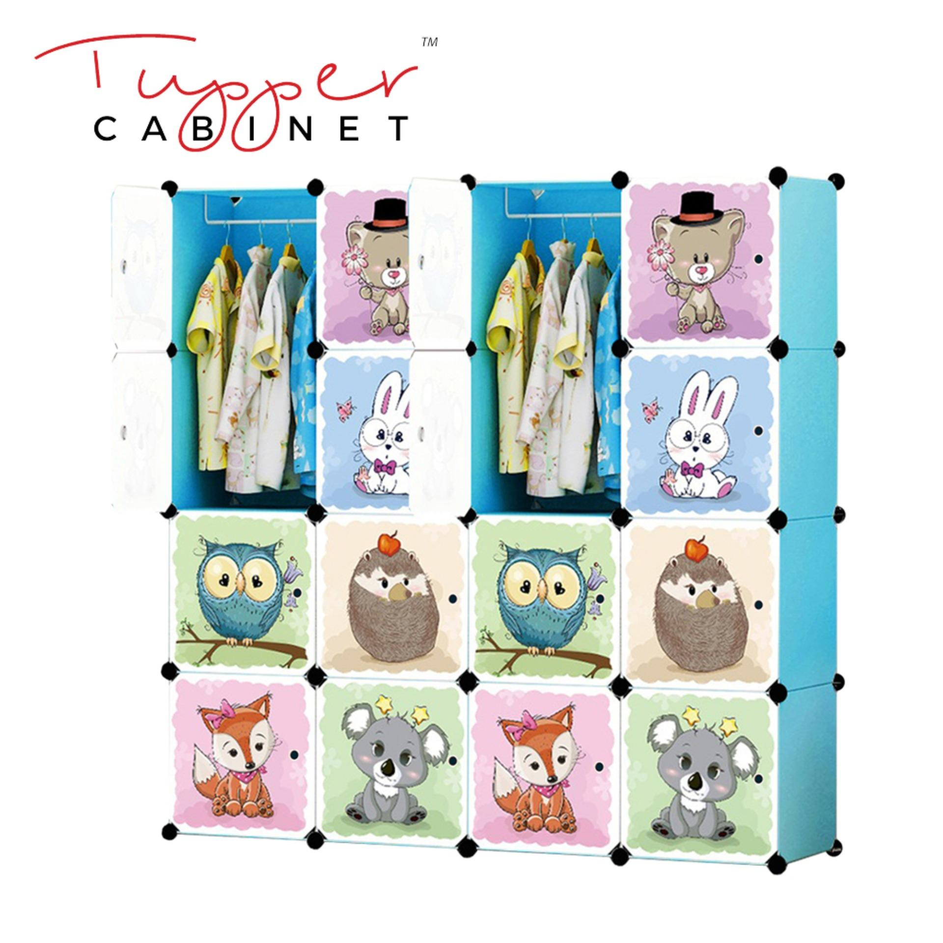 For Sale Tupper Cabinet 16 Cubes Jungle Cartoon Diy Wardrobe Organizer Sky Blue