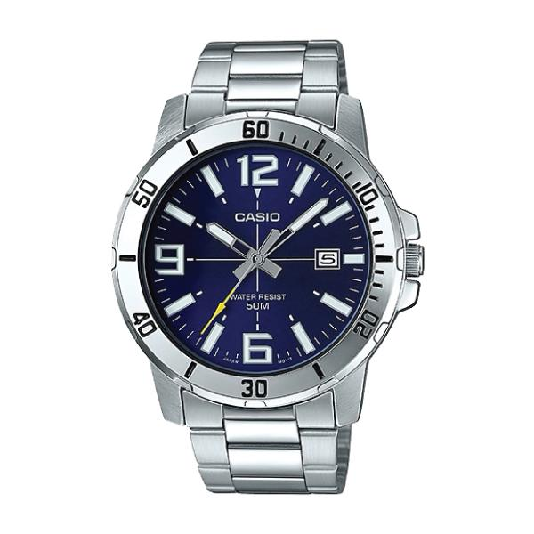 Casio Mens Diver Look Silver Stainless Steel Band Watch MTPVD01D-2B MTP-VD01D-2B Malaysia