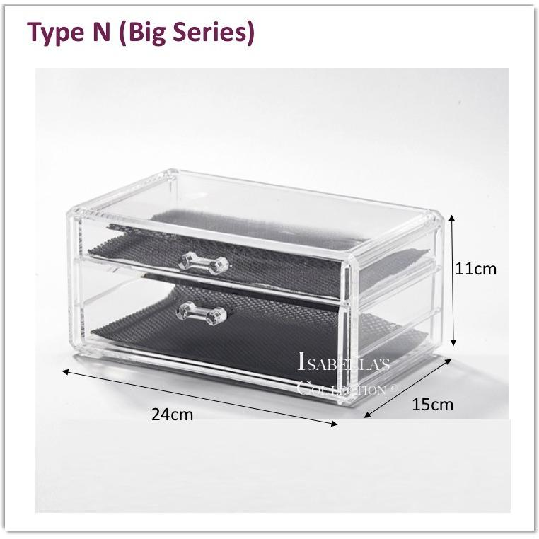 Coupon Type N Big Series Stackable Acrylic Cosmetic Organizer Clear Transparent Makeup Organiser Jewelry Storage Box Drawer Lipstick Brush Holder Nail Varnish Polish Case Container