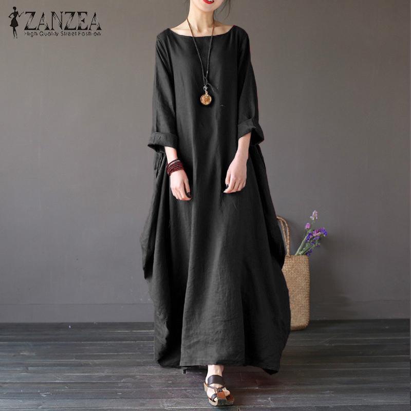 ZANZEA Womens Crewneck 3/4 Batwing Sleeve Baggy Maxi Long Shirt Dress Casual Party Kaftan