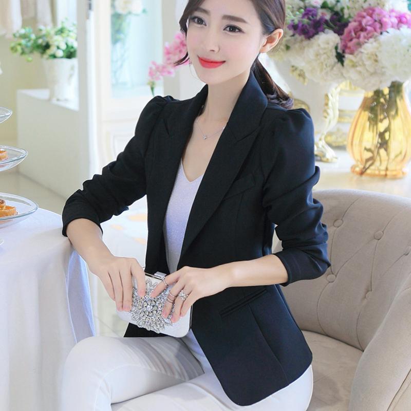3b126b9a2d484 LEIKENISI Womens Korean-style Long Sleeve Blazer (Black) Women Clothing  Jackets Coats Blazers
