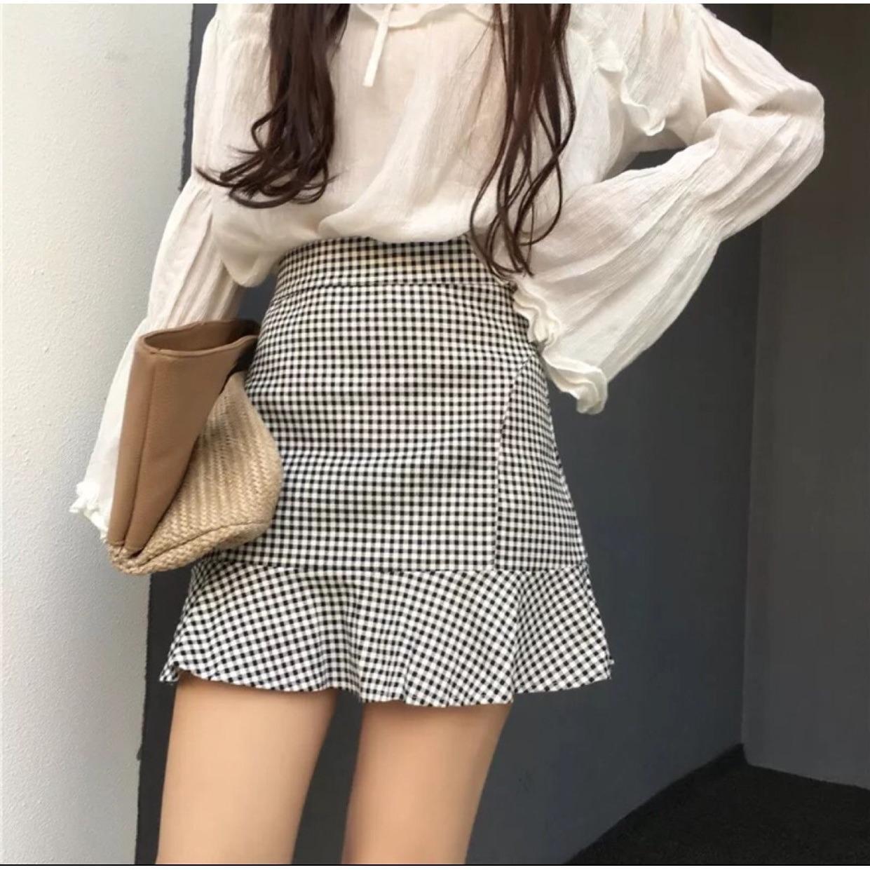 Black White Checkered Plaid Ruffled Skirt Best Buy