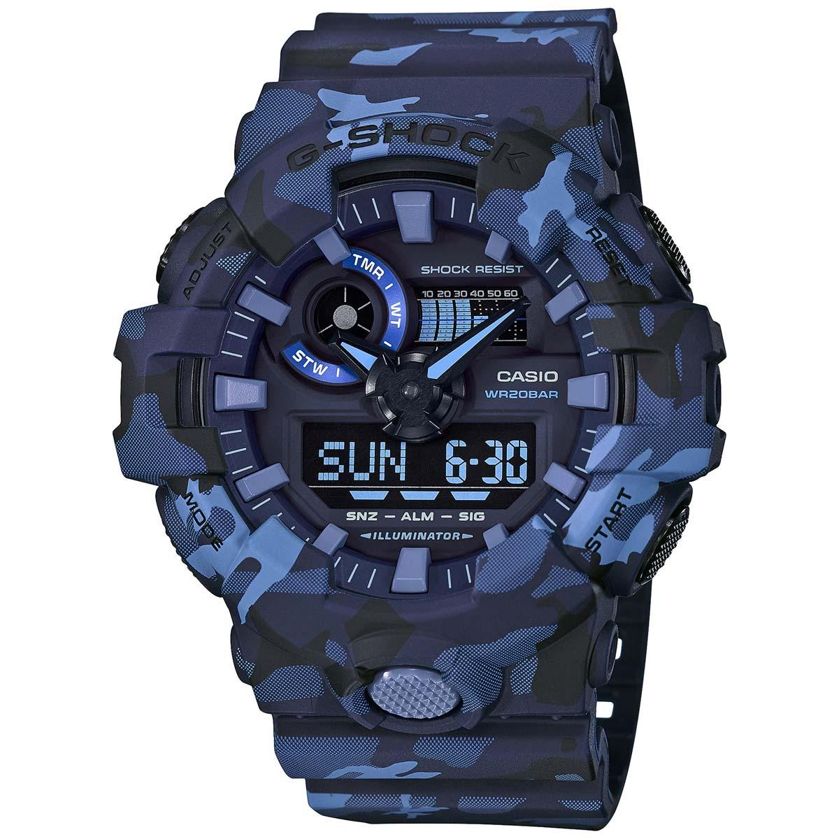 Cheap Casio Gshock Blue Camo Analogue Digital Mens Watch Ga700Cm 2Adr Ga 700Cm 2Adr