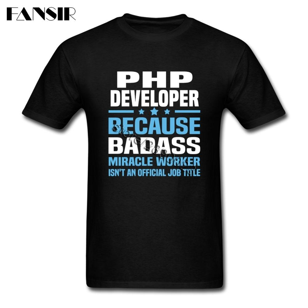 Diy Pria Kaos Baju Lengan Pendek Katun Kaus untuk Pria PHP Pengembang Kelompok Puncak Tee