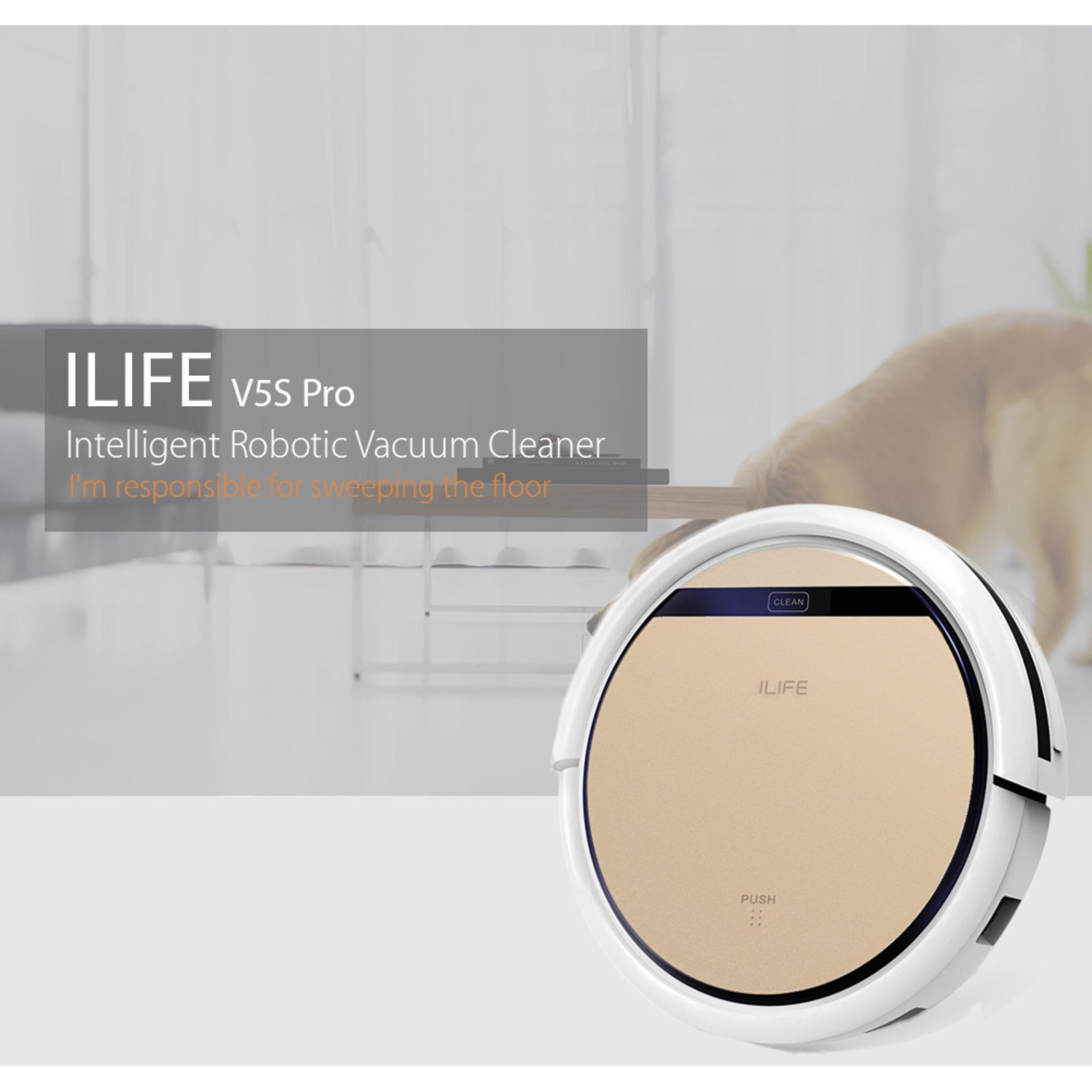 Ilife V5S Pro Intelligent Robotic Vacuum Cleaner Cordless Dry Wet Sweeping Cleaning Machine Champagne Gold Intl Best Price