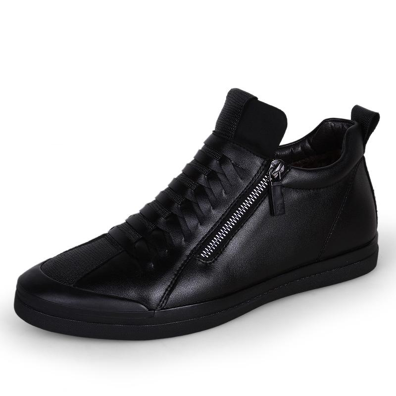 Price Snowfield Plus Velvet Black Waterproof Ankle Boots Men Hight Top Leather Shoes Evissmann