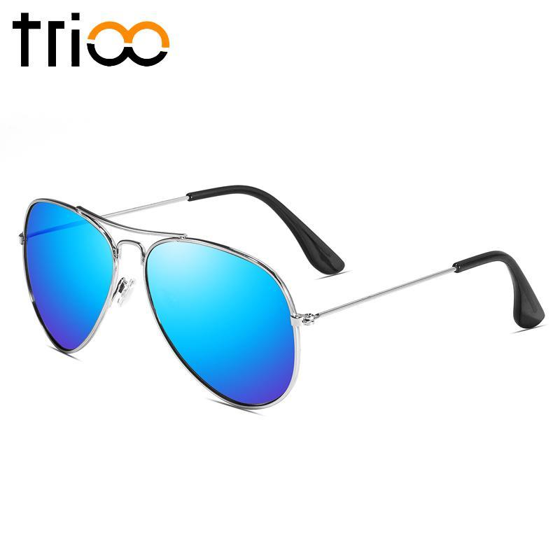 TRIO Merek Designer Brown Sunglasses Wanita Klasik Percontohan Lunette Shades Gaya Klasik Sun Glasses Lensa Warna Mewah Oculos Metallic Teal