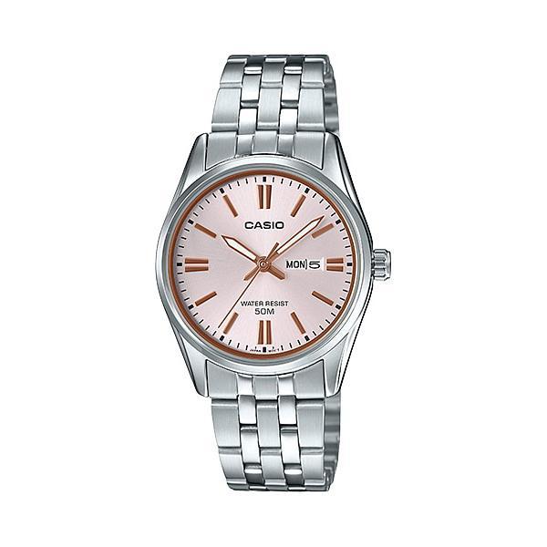 นาฬิกาข้อมือสำหรับผู้หญิง สายสเตนเลส Casio Ladies Standard Analog Silver Stainless Steel Band Watch แบรนด์แท้ 100% รุ่น Ltp1335d-4a Ltp-1335d-4a Ltp-1335d-4avdf ( ชมพู ) By Watchspree Asia.