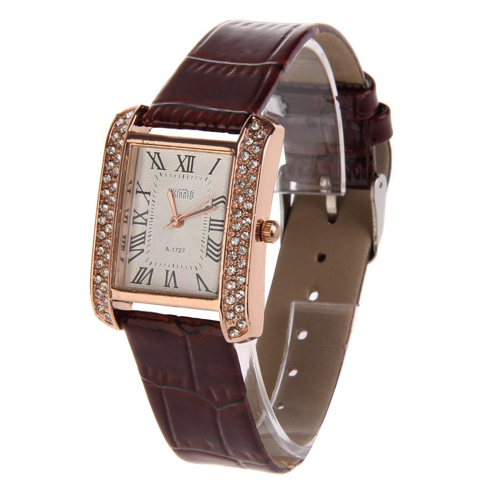 Popular Women Wristwatch PU Leather Band Alloy Square Face with Crystals Malaysia