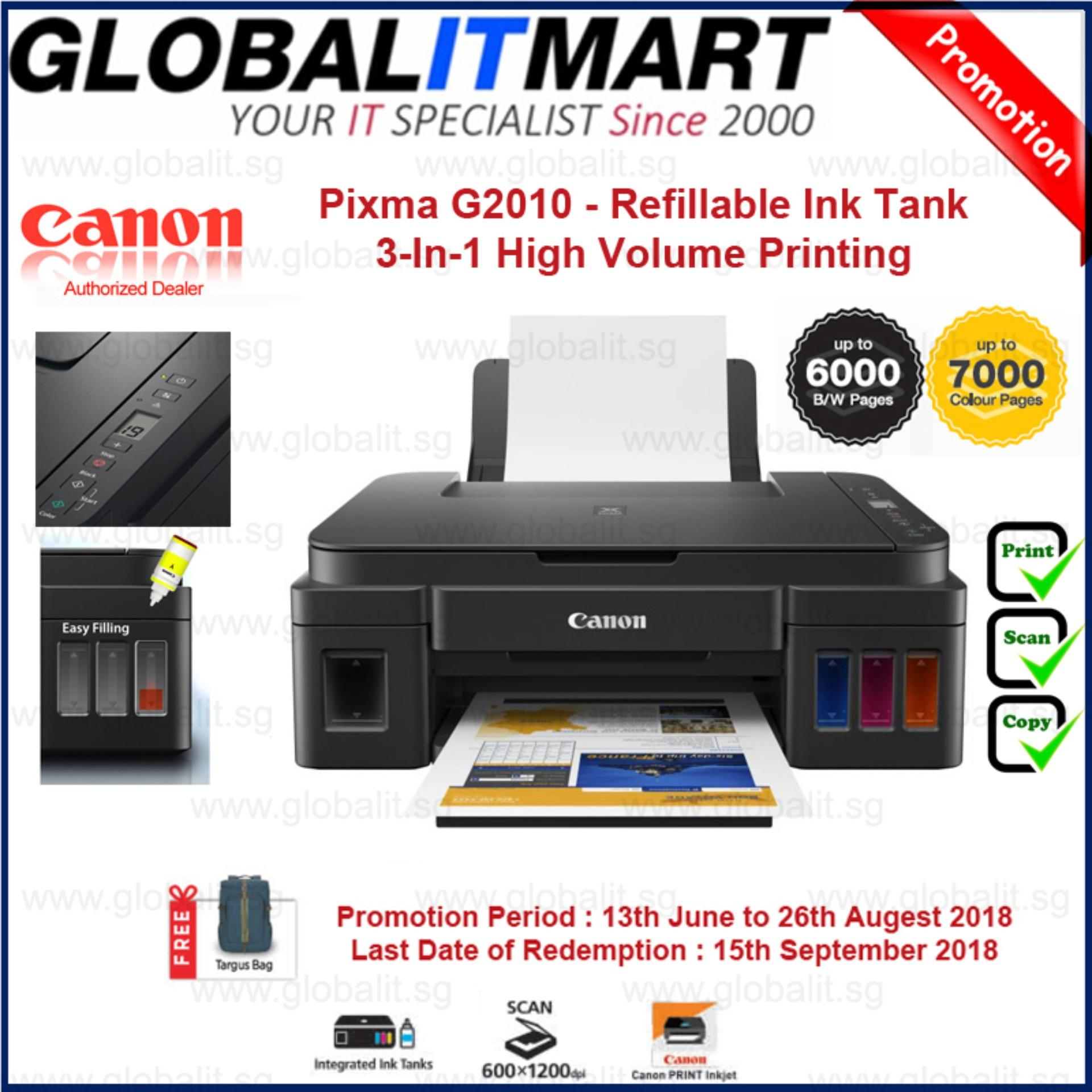 Canon Pixma G2010 NEW! Refillable Ink Tank 3-In-1 High Volume Printing (Mac  OS is not supported) Singapore