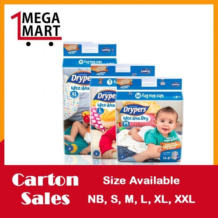 Sale Free 18 Pcs Drypers Wee Wee Dry L 62S X 3 Packs 9 14Kg 186Pcs Box Singapore Cheap