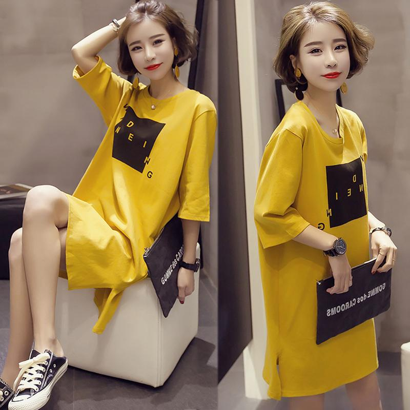 Loose Korean-style female slimming Short sleeve dress short sleeved t-shirt dress